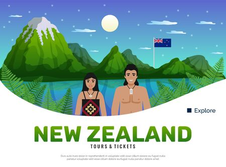 New zealand background with editable text description and doodle characters of natives in front of landscape vector illustration Ilustração