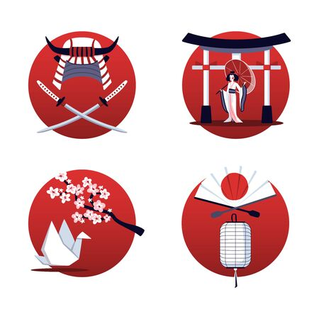 Japan 2x2 design concept set of isolated red round compositions with national symbols vector illustration Vettoriali