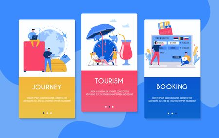 Colorful vertical tourism banners set with tourists tickets passport luggage flat isolated vector illustration