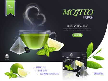 Tea brewing bag advertising composition with realistic images of lime slices mint leaves and product package vector illustration