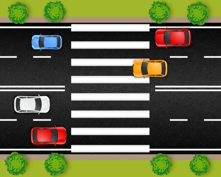 Road city street transport composition with top view of motorway section with cars and crosswalk stripes vector illustration Standard-Bild - 128161233