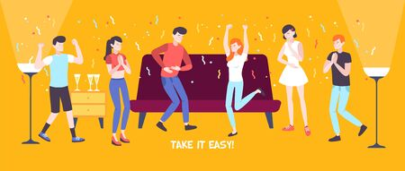 Take it easy flat composition with group of happy dancing people in home interior flat vector illustration