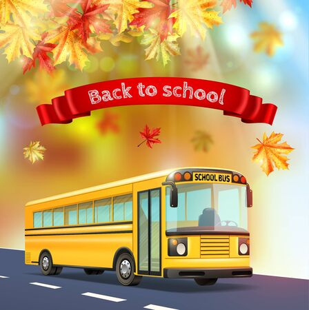 Back to school realistic background with yellow bus autumn leaves and text on red ribbon realistic vector illustration Çizim