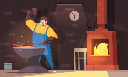 Blacksmith background with hard work and strength symbols flat vector illustration