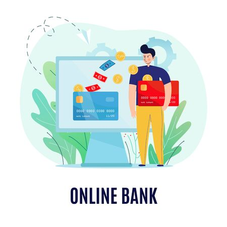 Online banking conceptual composition with text and images of man sending banknotes coins to the screen vector illustration