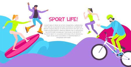 Street sport horizontal banner with people involved in rollerskating running surfing riding bicycle flat vector illustration