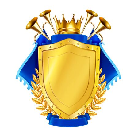 Heraldic golden shield decorated by blue pennants king crown and horns realistic vector illustration