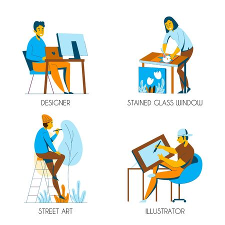 Creative professions 2x2 design concept with designer illustrator artist flat isolated vector illustration