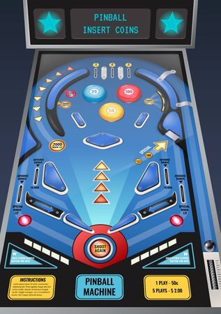 Pinball slot machine waiting for coins realistic composition with flashing lights and shoot again button vector illustration   Çizim