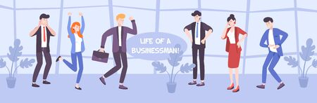 Businessmen life flat illustration with office people in various poses expressing different feelings and emotions vector illustration