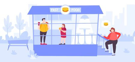 People with excess weight and health problems eating at fast food restaurant flat vector illustration