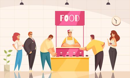 Expo stand background with food promotion symbols flat vector illustration 일러스트