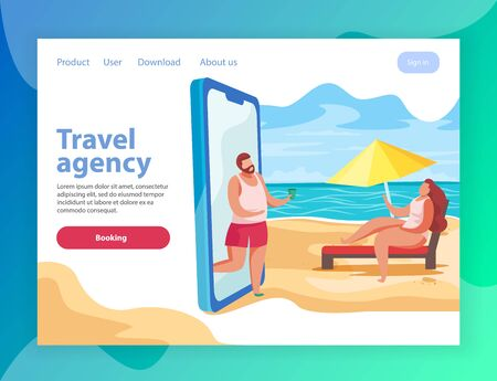 Summer party flat landing page website background with conceptual images of smartphone and links with text vector illustration