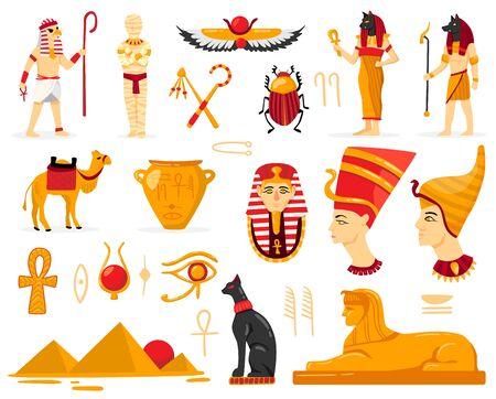 Egipto con imágenes aisladas de personajes de antigüedades egipcias antiguas de adoradores escritura auténtica y símbolos ilustración vectorial