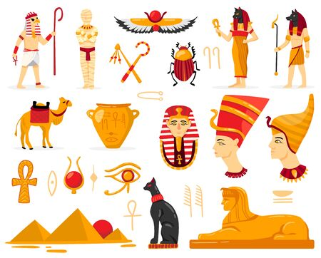 Egypt set with isolated images of ancient egyptian antiquities characters of worshippers authentic script and symbols vector illustration