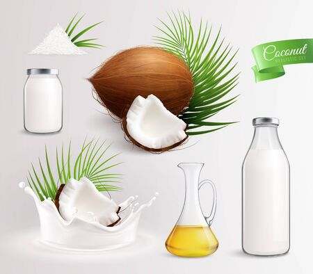 Coconut products set with realistic images of coconut fruits leaves oil and milk in glass bottles vector illustration Stock Vector - 127764026