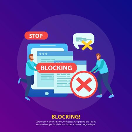 Blocking tablet ip address from wifi network stopping abusive messages isometric background composition with stop sign vector illustration Illustration