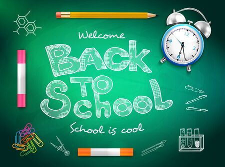 Back to school text crayons pencil paperclips alarm clock on green chalk board background realistic vector illustration