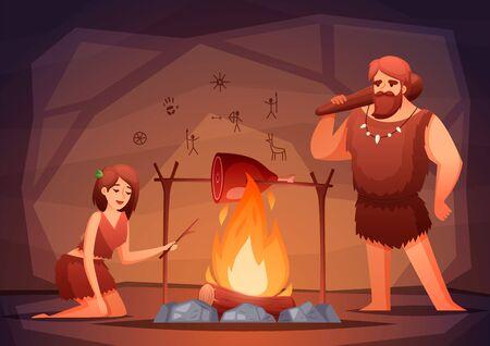 Composition plate d'intérieur de maison préhistorique de l'âge de pierre avec une famille d'hommes des cavernes cuisinant de la viande sur une illustration vectorielle à feu ouvert