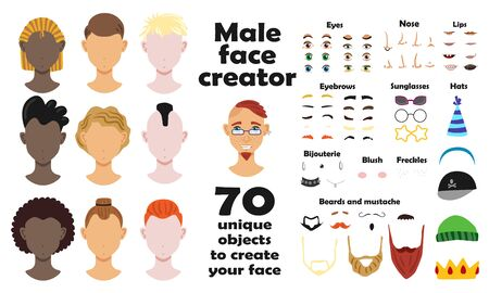 Male face creator set of portrait models and seventy unique objects to create face flat vector illustration