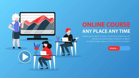 Banner orizzontale di formazione online per sito web con cursore più pulsante testo modificabile e illustrazione vettoriale di immagini scarabocchiate Vettoriali