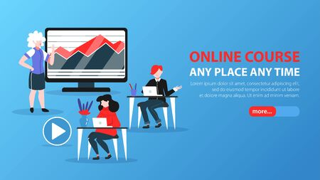 Online education horizontal banner for web site with slider more button editable text and doodle images vector illustration