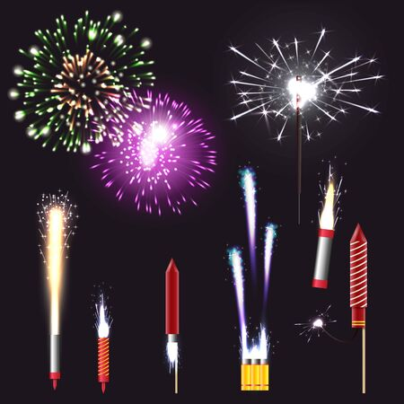 Fireworks realistic set with pyrotechnics and fun symbols isolated vector illustration