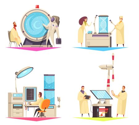 Science 2x2 design concept of research in field of biotechnology medical robots and green energy flat vector illustration Illustration