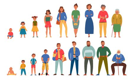 Generations people men women icon set with people age from infants to seniors vector illustration Illustration