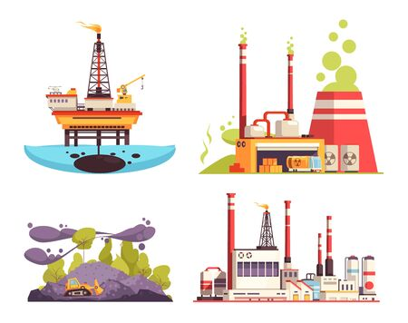 Industry 2x2 design concept set of oil offshore platform refinery power station pollution isolated vector illustration