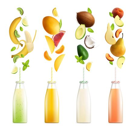Fruits smoothies set of fruit cocktails realistic images with colourful bottles and slices on blank background