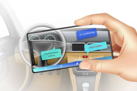 Augmented reality background with hands holding smartphone viewing car interior realistic vector illustration Çizim