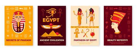 Ancient egypt civilization symbols culture 4 vertical banners set with pantheon pharaoh secrets nefertiti head vector illustration  Çizim