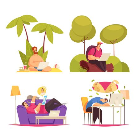 Freelance remote flexible work 4 cartoon concept compositions with writing under palm chatting on sofa vector illustration