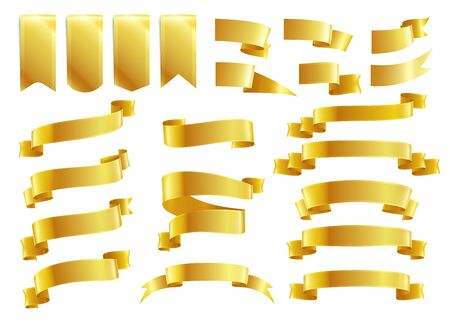 Golden ribbons realistic set with isolated images of luxury ribbons of various shape on blank background vector illustration