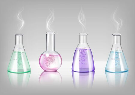 Laboratory glassware of different shapes realistic set of flasks and retorts filling colored potion isolated vector illustration  Illusztráció