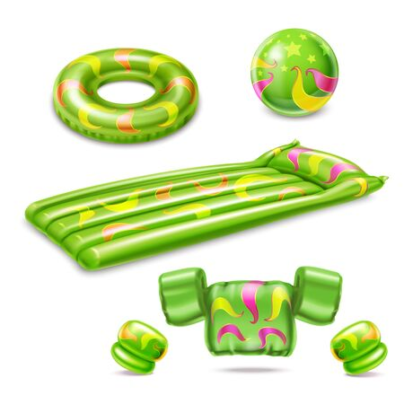 Swimming accessories green set of inflatable cuffs mattress ball life ring isolated on white background realistic vector illustration