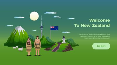 New zealand horizontal banner with see more button editable text and images of landmarks and natives vector illustration Фото со стока - 128161266