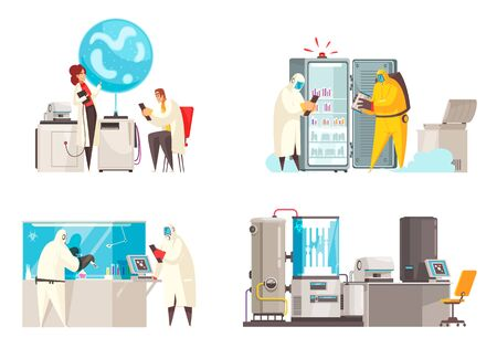 Microbiology design concept with four compositions of human characters in biohazard suits near laboratory equipment units vector illustration