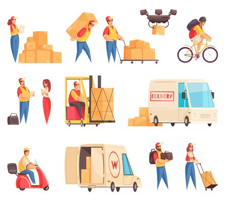 Delivery set with isolated icons of postal service workers and shipping transport equipment on blank background vector illustration