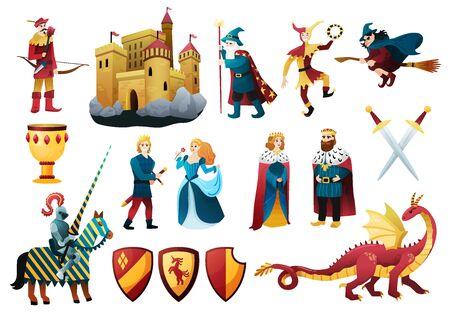Personajes de cuento medieval plano colorido conjunto con castillo fortaleza rey reina dragón bufón caballero arma ilustración vectorial