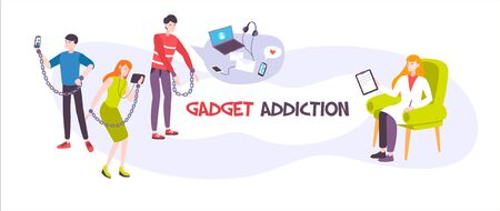 Gadget addiction flat banner with psychologist and people chained to their smartphones and tablets vector illustration Ilustração