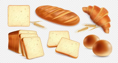 Bread realistic set on transparent background with images of bakery products and wheat stalks with shadows vector illustration