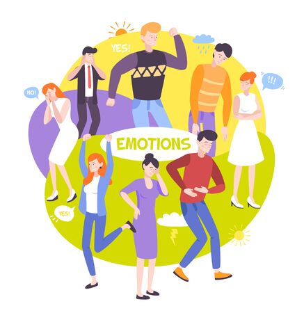 People emotions colorful round composition with human characters showing their emotions through body poses and gestures flat vector illustration Иллюстрация