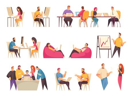 Coworking people set with teams of creative employees working together at big desk or discussing business problems isolated vector illustration