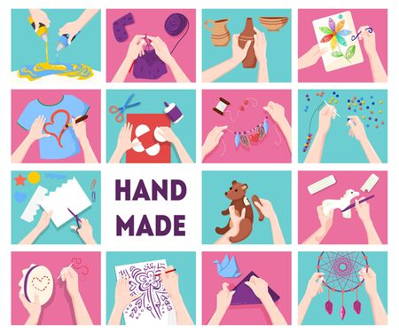 Handmade clothing decorations toys presents accessories pottery earthenware creative craft business flat background icons set vector illustration Vector Illustration