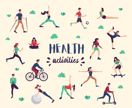 Physical activity health benefits flat characters set with yoga fitness cycling nordic walking background poster vector illustration
