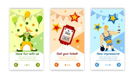 Classical retro circus performance tickets online 3 vertical advertising banners with balloons clown strongman isolated vector illustration