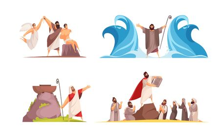 Bible narratives design concept with four isolated doodle style compositions and iconographic scenes with legendary characters vector illustration Illustration
