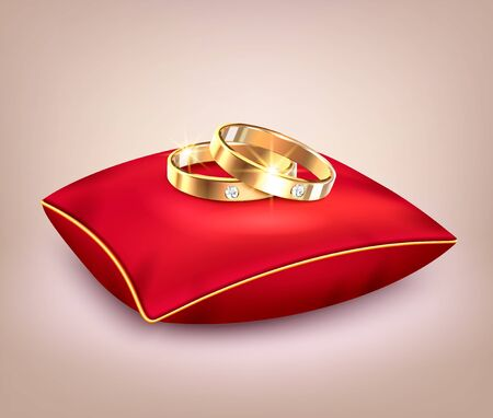 Two wedding golden rings with diamonds on red ceremonial pillow realistic background vector illustration Иллюстрация